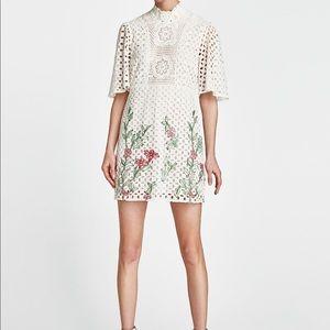 08ae2ee9 Zara Dresses | S Short Embroidered Floral White Dress | Poshmark